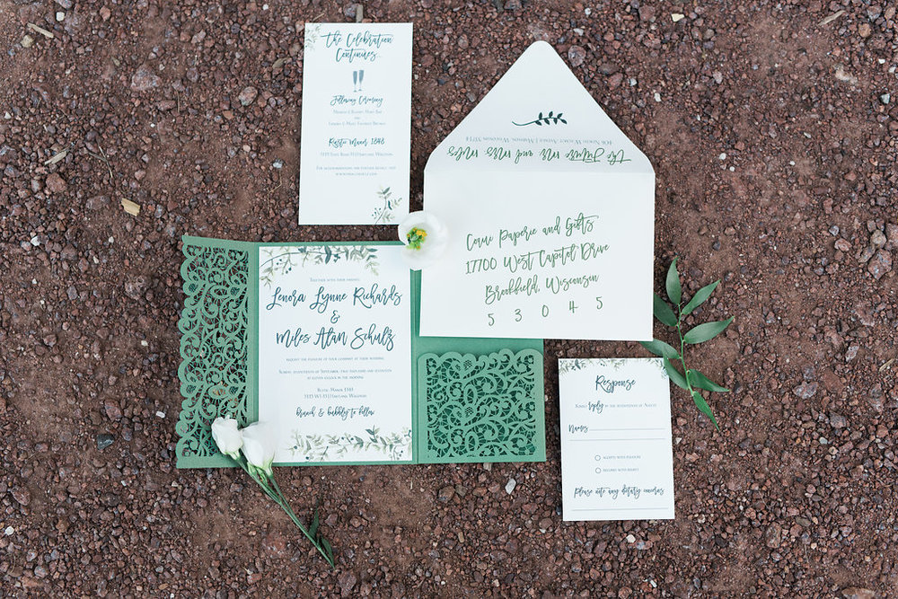"Green for a fall wedding is always a good idea. This suite features a laser cut trifold, watercolor and fun digital guest addressing ""calligraphy""!"