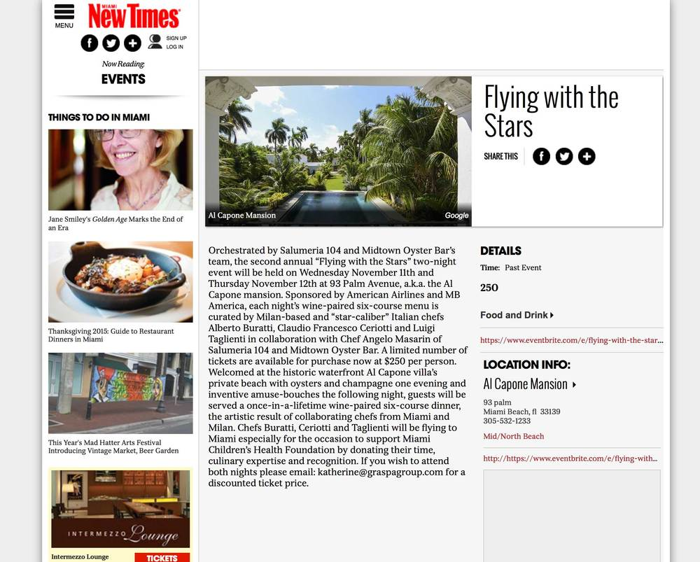 "<p><strong>Miami New Times</strong><a href=""http://www.miaminewtimes.com/event/flying-with-the-stars-8005296"" target=""_blank"">Read Article→</a></p>"
