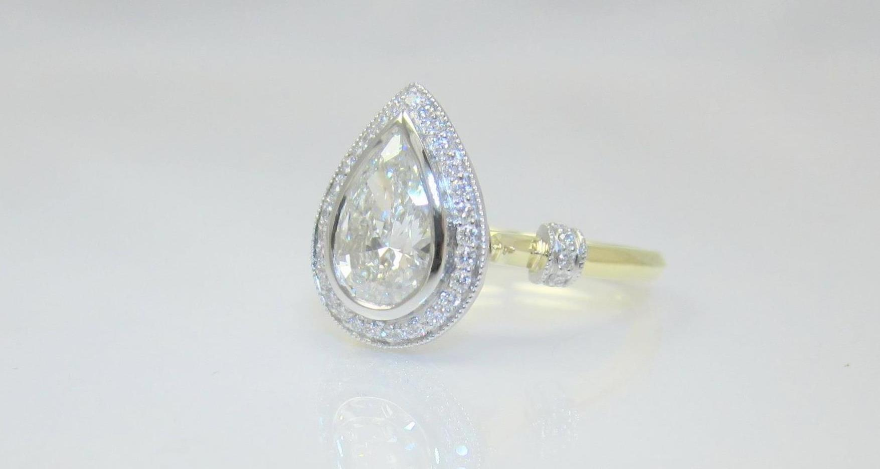 keezing shaped ring jewelry engagement rings handmade linda diamond pear gallery kreations