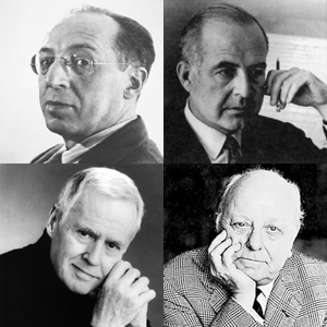Clockwise from top left: Aaron Copland, Samuel Barber, Virgil Thomson, Ned Rorem