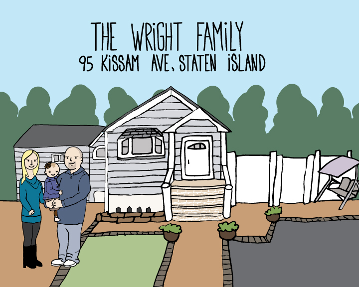 Custom illustration created for the Wright Family, who lost their home to Hurricane Sandy