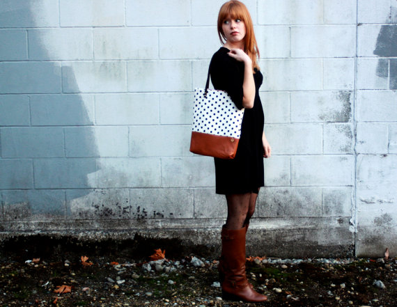 Polka Dot and Caramel Leather Tote Bag by rougeandwhimsy
