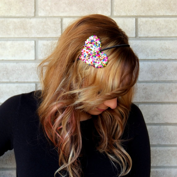 The Big Love Confetti Sequin Heart Headband by milarosedesigns