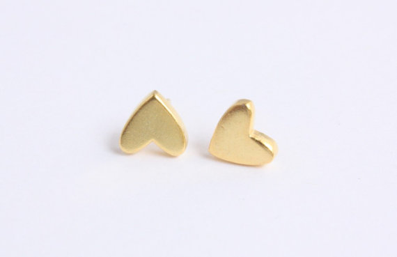 Tiny 14K Gold Plated Heart Stud Earrings by catilla