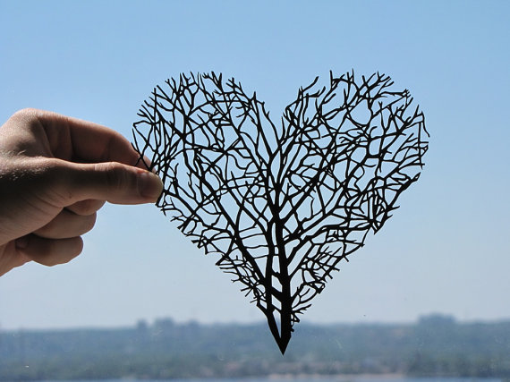Branches Heart Handmade Papercut by DreamPapercut