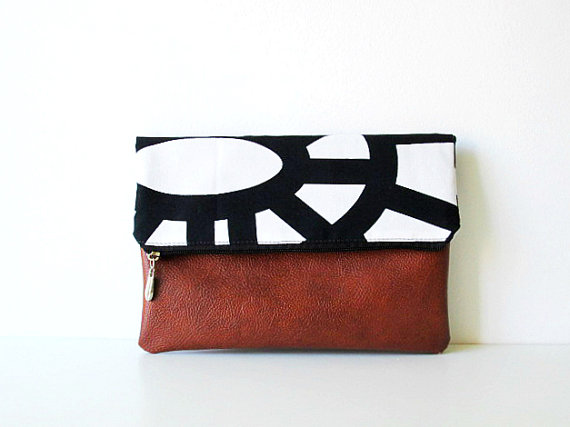 Black and White Geometry Clutch  by  byMART