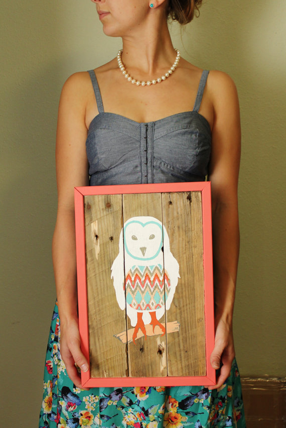 Barn Owl Reclaimed Wood Painting  by  MissMacie