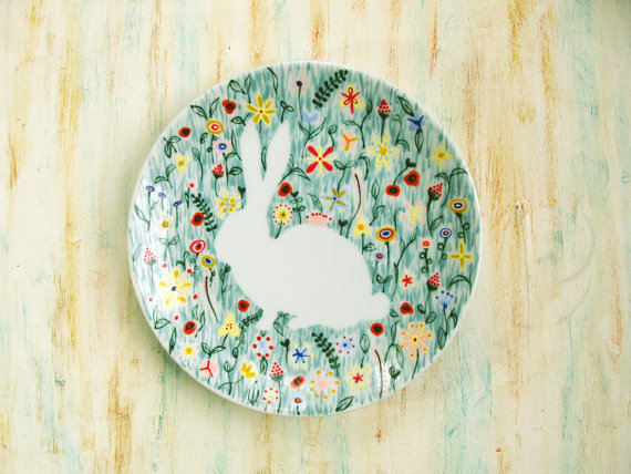 Hand-Painted Porcelain Bunny Plate by roootreee