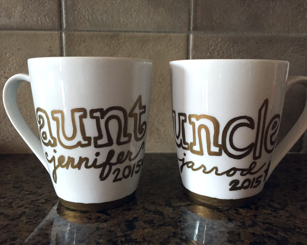 Mugs painted with Sharpie paint markers for my sister and her husband