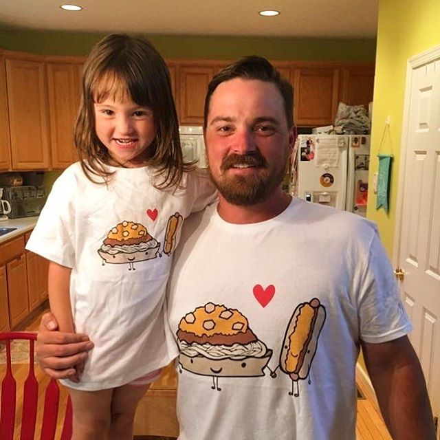 How stinking cute is this duo, proudly sporting their new Cincinnati Chili 3-Way and Coney tees?! Thanks for being some of my raddest, most loyal fans and customers 😁❤️