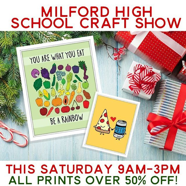 "Okay, y'all! We're making our ONLY in-person show appearance this weekend at the Milford High School Craft Show! All prints will be over 50% off at the show only! Also, a ""bargain bin"" of cards for only a buck a piece! Come stock up!!"