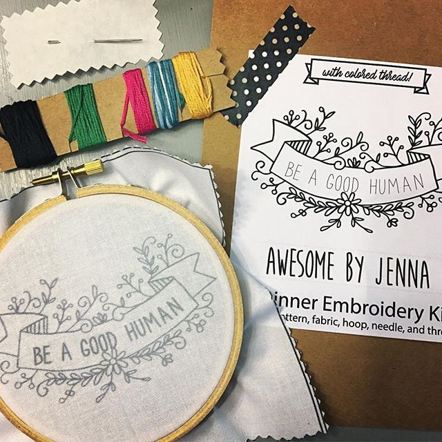 Excited to try my hand (literally) at embroidery with this adorable kit from @awesomebyjenna ! 😊 Wish me luck! #newbie
