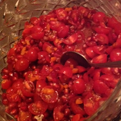 Pomegranate Tomato Salad: The colors are extraordinary as is the pop of acidity from the seeds to accent the tomatoes.