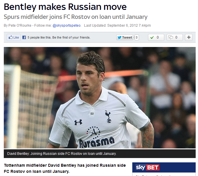 "Bentley driven to Russia. ""Tottenham midfielder David Bentley has joined Russian side FC Rostov on loan until January"". Further and further away from those glory days with the skip."