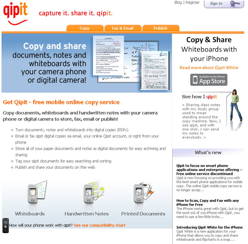 Home page for the Qipit consumer website