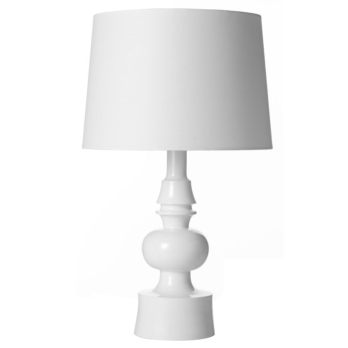 "I have a pair of these sitting on top of white, shiny wood nightstands. I love them. West Elm ""Turned"" Table Lamp, $149."
