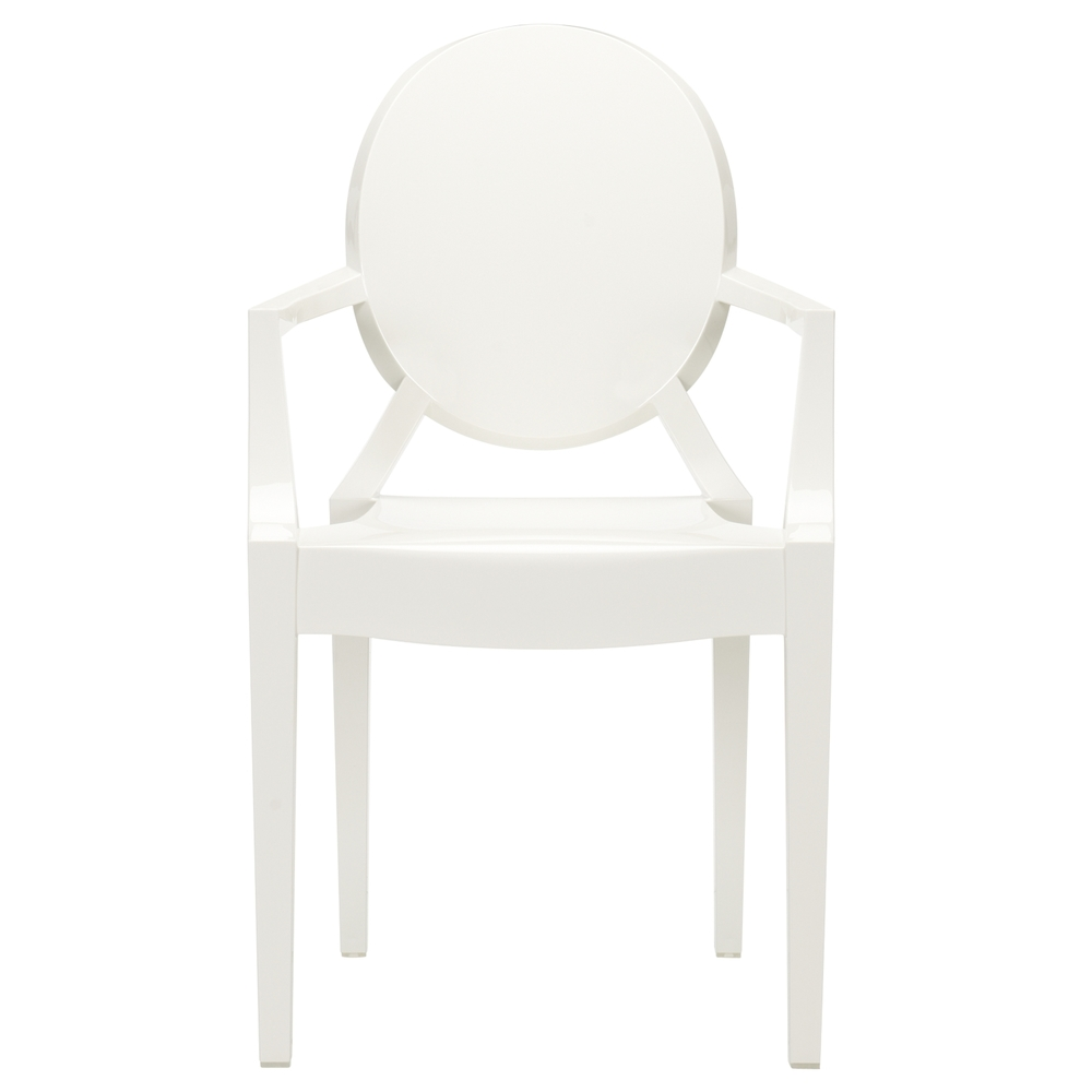 Ghost chairs are great in that they add high style without taking up any visual space (which is great for smaller rooms, where you shouldn't have bulky furniture). I love the glossy white, as it a bit more substantial than the clear. Kartell Victoria Ghost Chair, from $330.