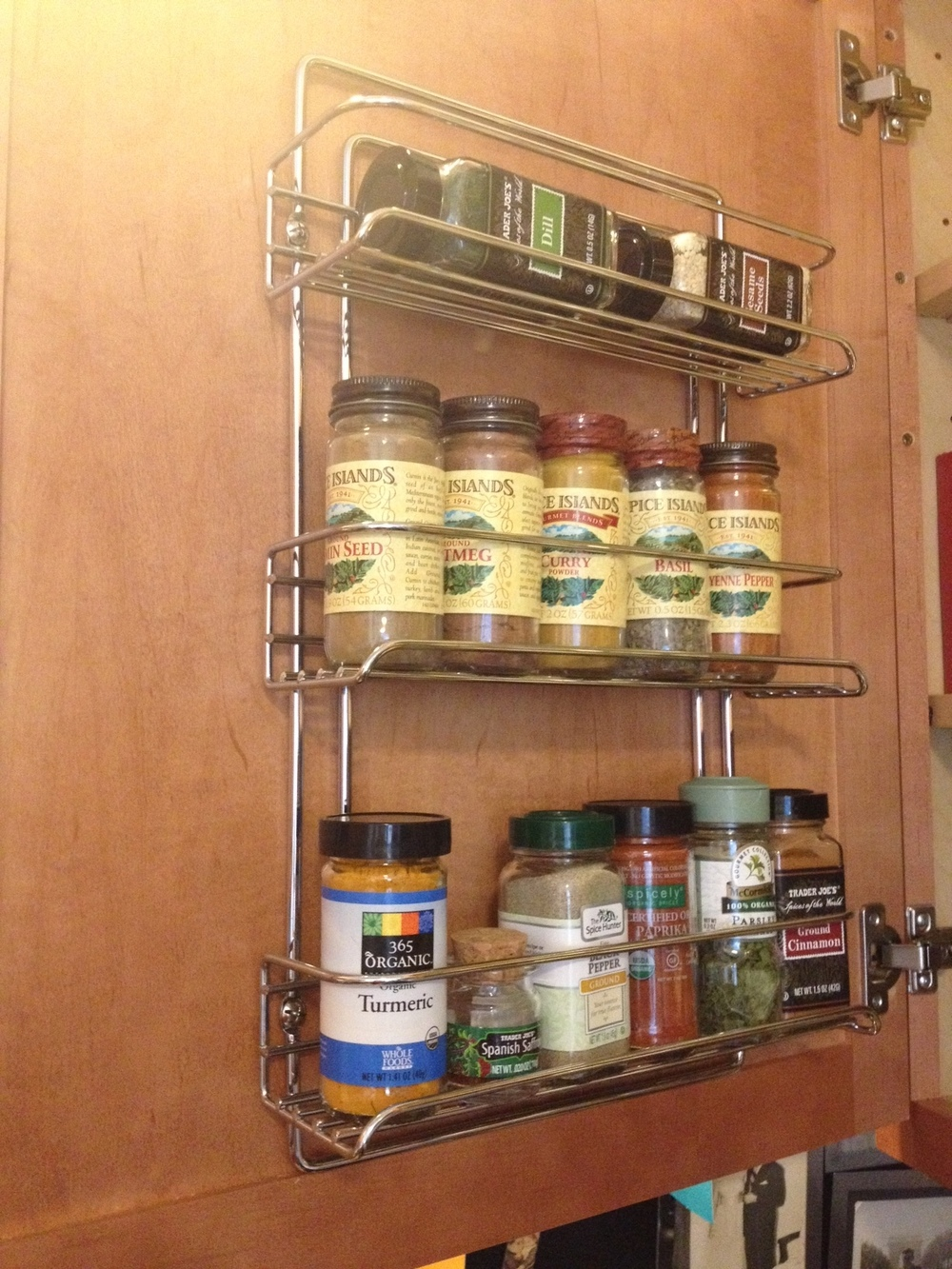 "You know how they say, ""measure twice and cut once?"" LISTEN. Or you'll be side-stacking your spices on the top row. Oops."