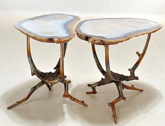 Simply stunning pair of agate and bronze tables. Taylor Florentine, $37,500. No biggie.