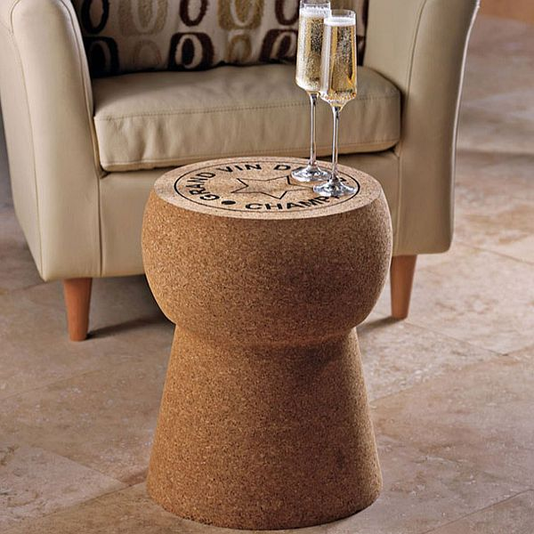 Love this Giant Cork Table from Wine Enthusiast. I do  not , however, condone the Vegas hotel lobby chair behind it.  $259.95.