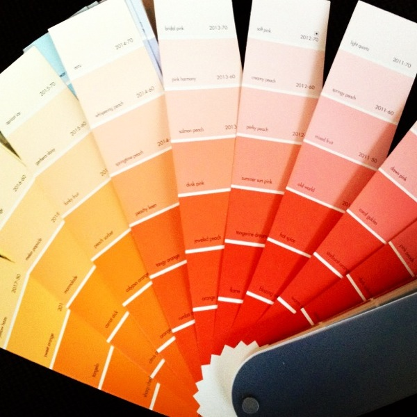 My  Benjamin Moore Color Preview paint fan . I gravitate toward the colors closer to the bottom, as they are much more pigmented .