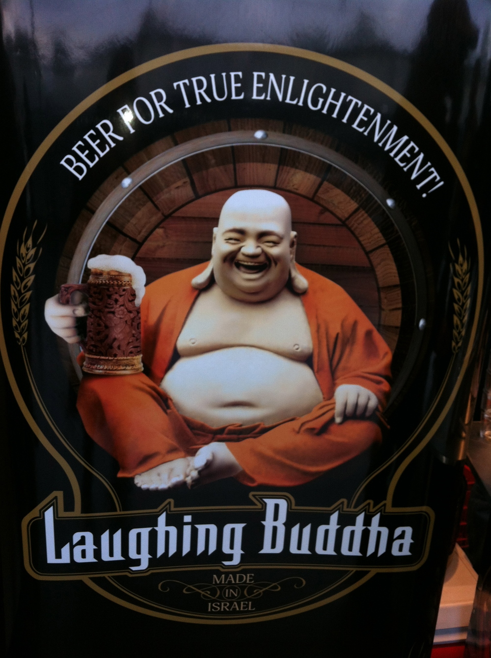 Close-up of the Laughing Buddha Beer