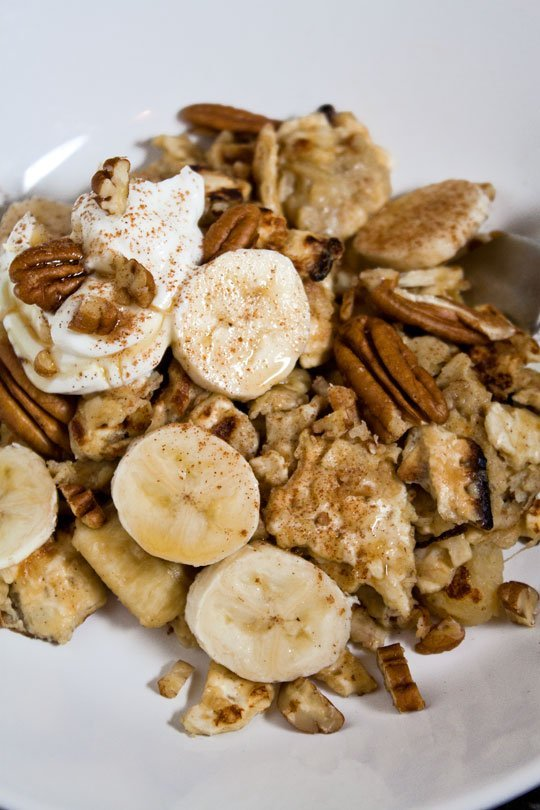 Matzo Brei with Bananas and Pecans