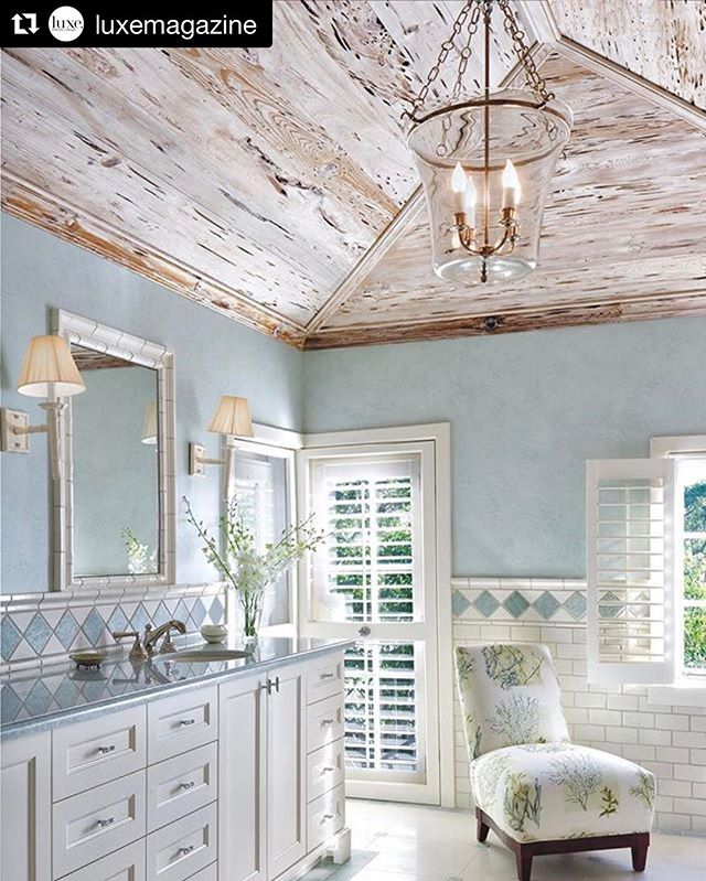 #Repost @luxemagazine ・・・ A lovely combination of limed pecky cypress ceilings with pale blue in a #PalmBeach master bath #LuxeMiami Jan/Feb Interiors: @allisonpaladinointeriors  Builder: Tim Givens Photo: @rdiazphoto  On assignment for Luxe Magazine @sandow  Thanks @tethertools @canonusa @manfrottoimaginemore @thinktankphoto __________________________________  #architecture #design #interiors #interiordesign #interiordesigner #architecturalphotography #luxury #homedesign #luxuryhomes #editorial #deco #house #instadesign #creative #documentary #color #inspiring #onassignment #onlocation #miami #instaluxe #eyeondesign #materials #paleblue #peckycypress #masterbath #bathdesign