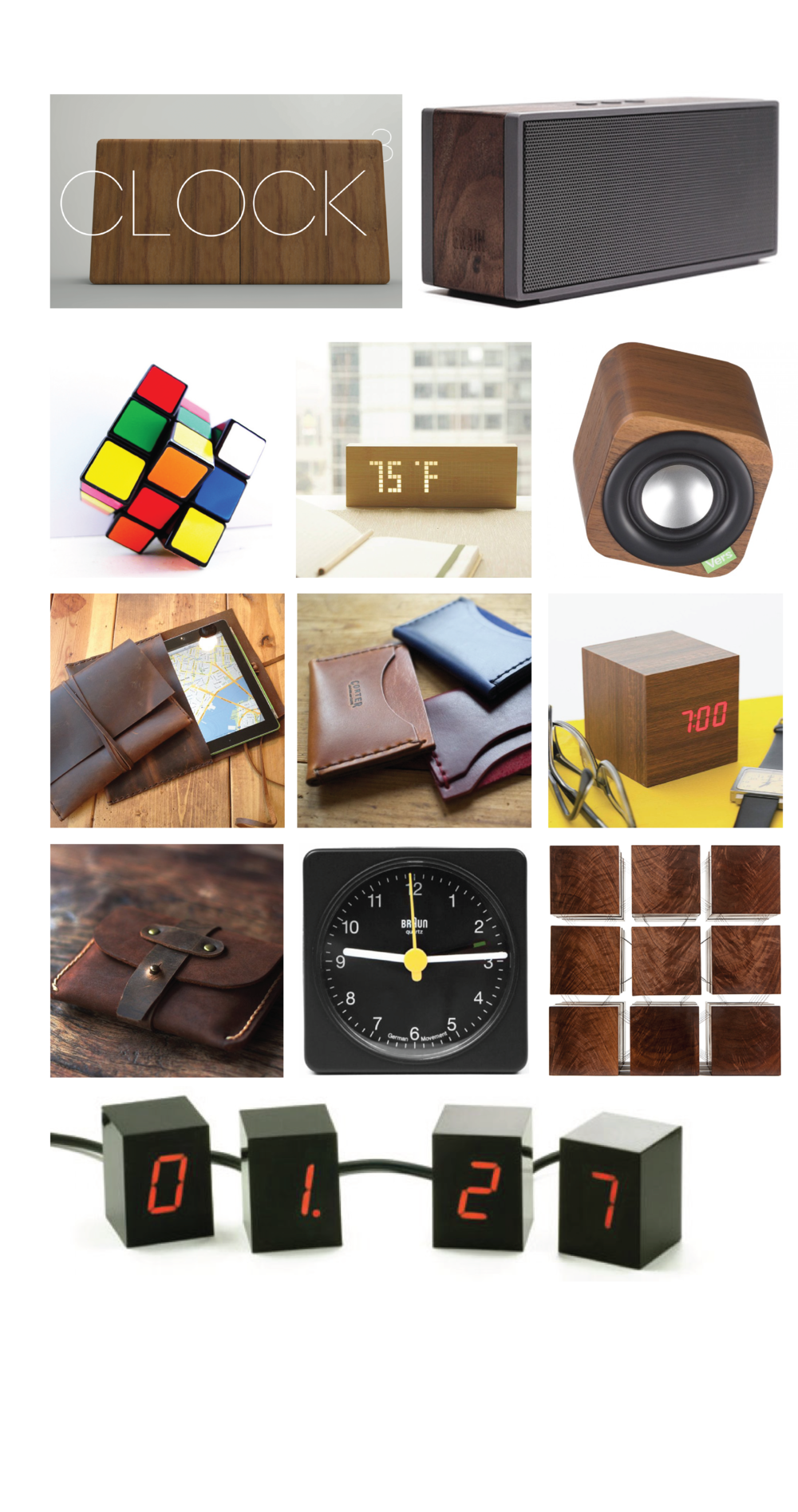 Wood, leather and Rubix Cubes...