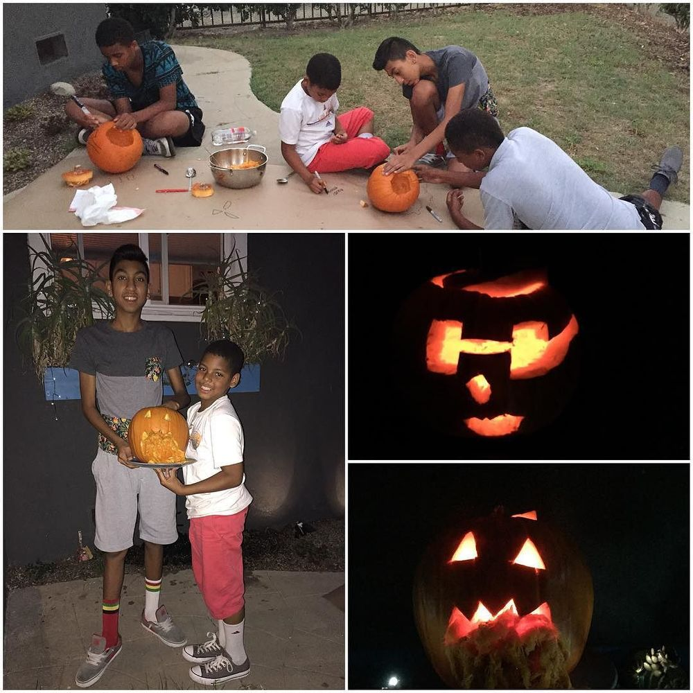 Pumpkin carving with Clyde crew! #happyhalloween #pumpkincarving #clydecrew
