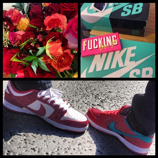 ❤️Love is… Flowers, chocolate, & SBs #latergram #sneakerlove #mymanknows #marsandmingo @mingointhedance ❤️
