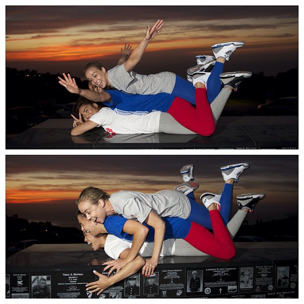 "#tbt Las Locas - Acroyoga shoot w/ San Diego sunset.. @aubrymarie & @shelleyreyes and I always have fun collaborating together😜😂😘 Jordan 3 {black cements, true blues, cements} Come have fun w/ us at our show ""Solephisticated"" this Sat @rswdsd 7-10"