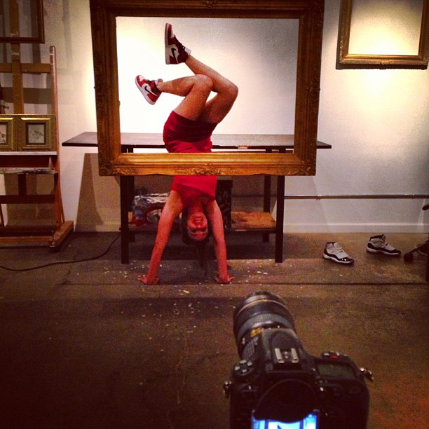 "Behind the scenes: @aubrymarie shooting for ""Solephisticated"" Art Exhibit 