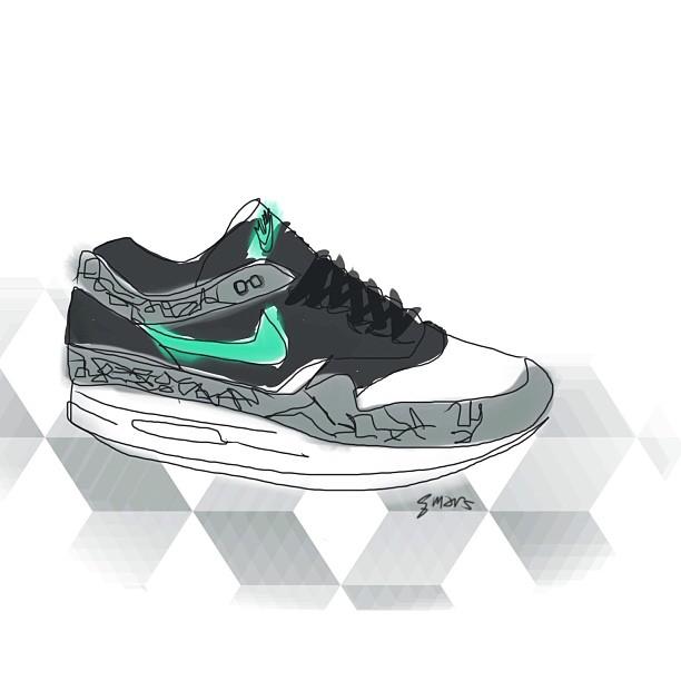 Nike AirMax 1 x Atmos  Digital painting #marsartist  ☺✌