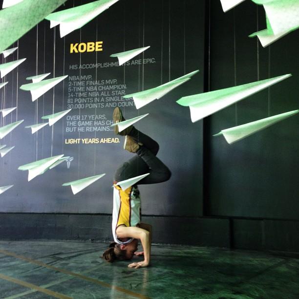 Light years ahead #kobesystem @nikevault Lakers vs. Bulls 🏀 #urbanyoga {Nike Dunk Sky High Bamboo} photo by @melputer