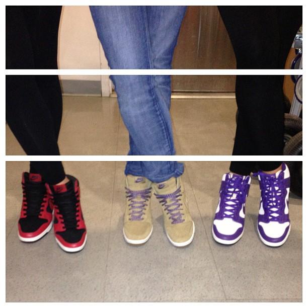 Tres amigas #skyhighdunks #nike from left: @shelleyreyes @marsartist @aubrymarie