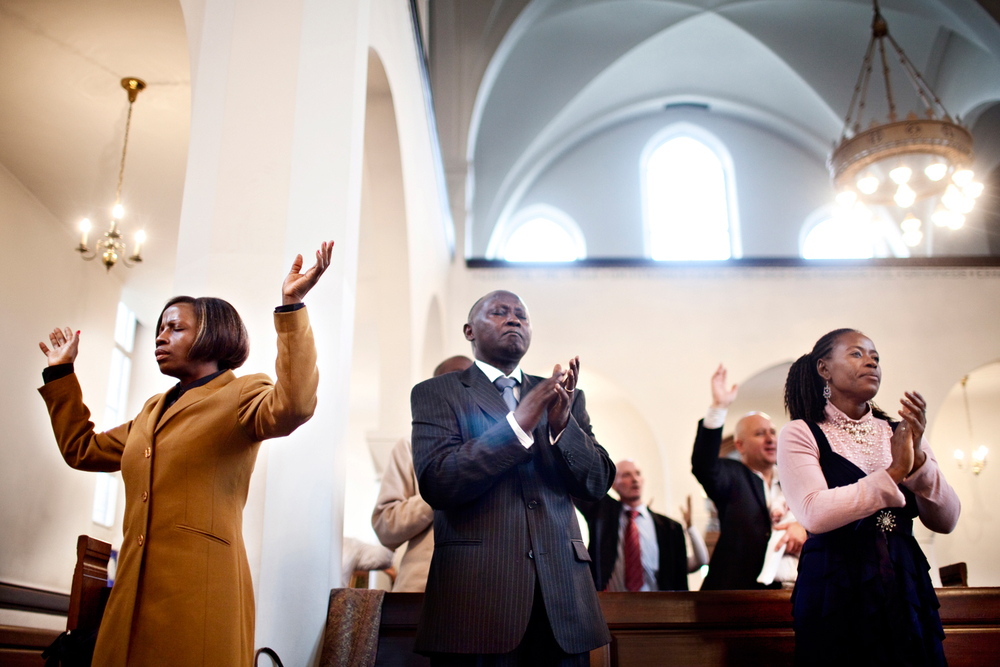 Love for God.  'Church on the rock' gathers Christians from different parts of Africa in church of Timotheus in Copenhagen, Denmark.