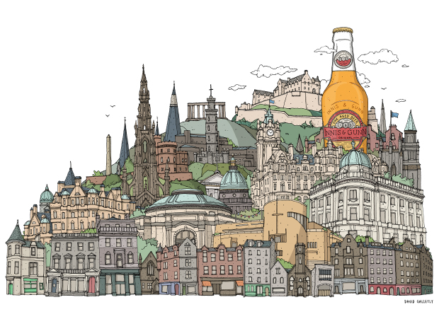 Innis & Gunn Edinburgh cityscape illustration