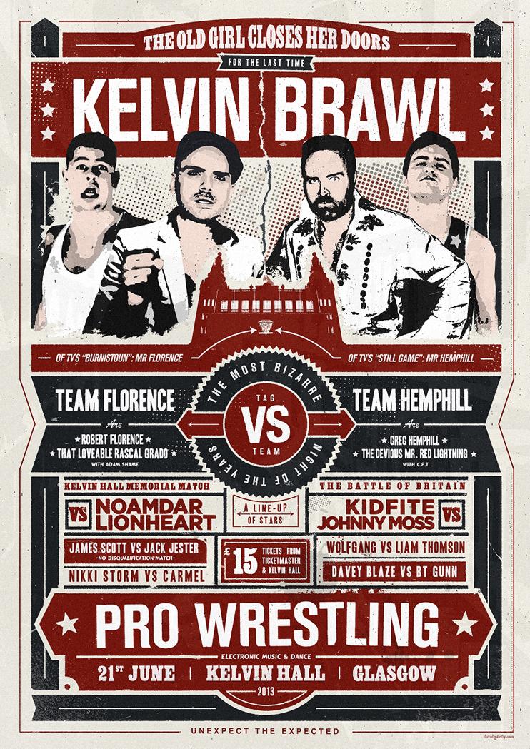 Kelvin Brawl wrestling poster design