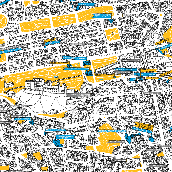 Edinburgh Art Festival map illustrated by David Galletly