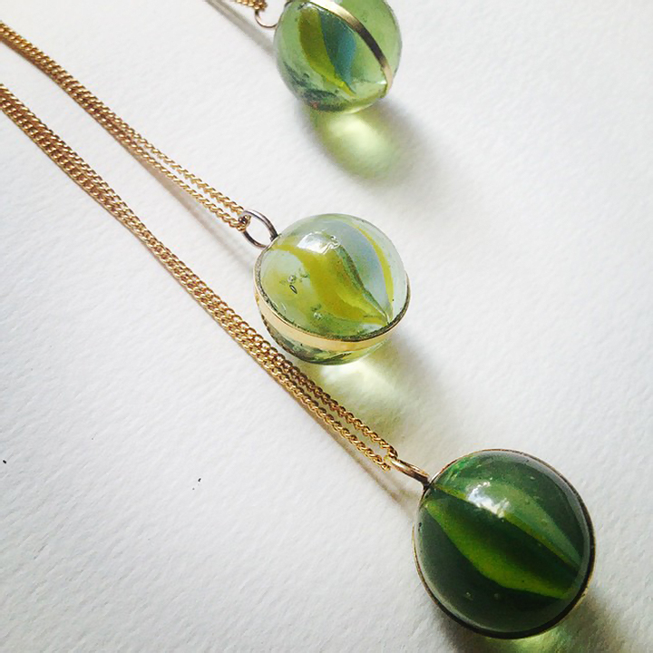 Marble necklaces by Beth Dawson