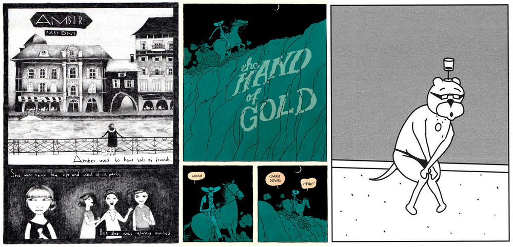 Amber & Chelsea by Carolyn Alexander and Coll Hamilton / The Hand of Gold by Jordan Crane / Achewood by Chris Onstad