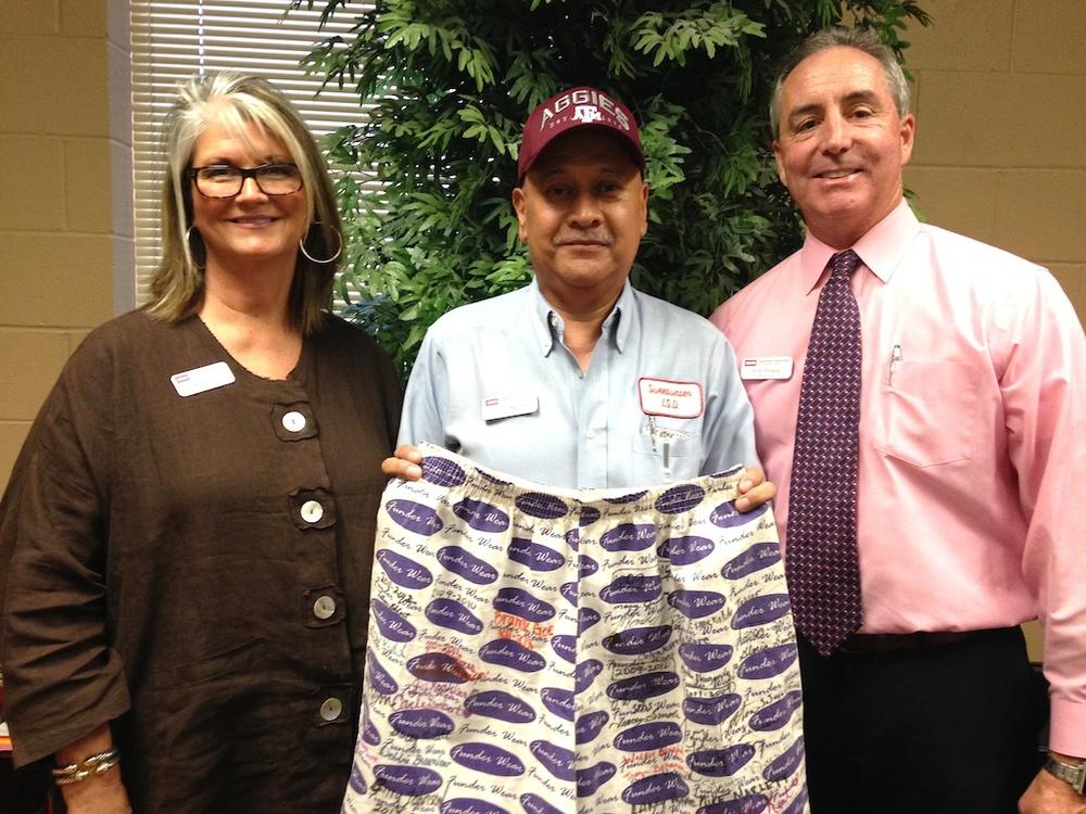 Pictured receiving the Funderwear Award is Freddie Saldivar at East Ridge Elementary School.