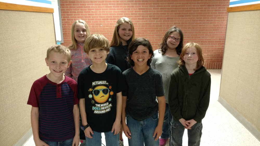 4th Grade Engineering Team: (Back Row) Alexis Bailey, Taylor Reed, Sarah Lingafelter (Front Row) Kaleb Powell, Hayden Perry, Christopher Gomez, Wyatt Williams
