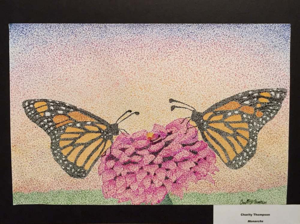 "First year entrant, SHS Sophomore Charity Thompson submitted ""Monarchs"" in markers."