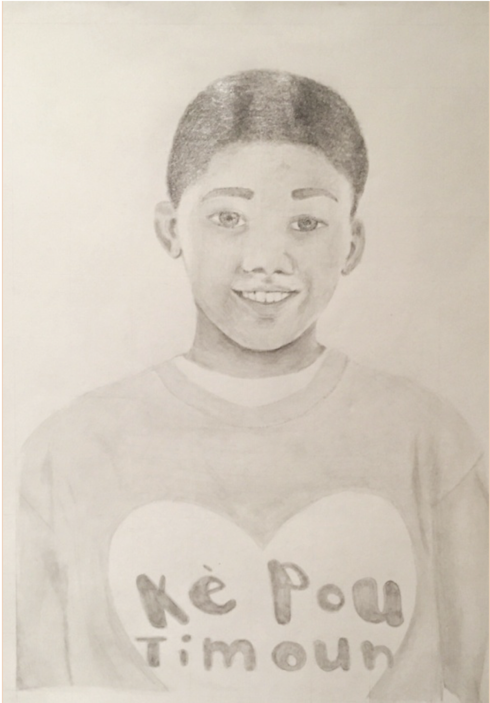 """Ke Pou Timoun"" portrait is a pencil drawing by Advanced Art Student, SHS Senior Meagan Davis."