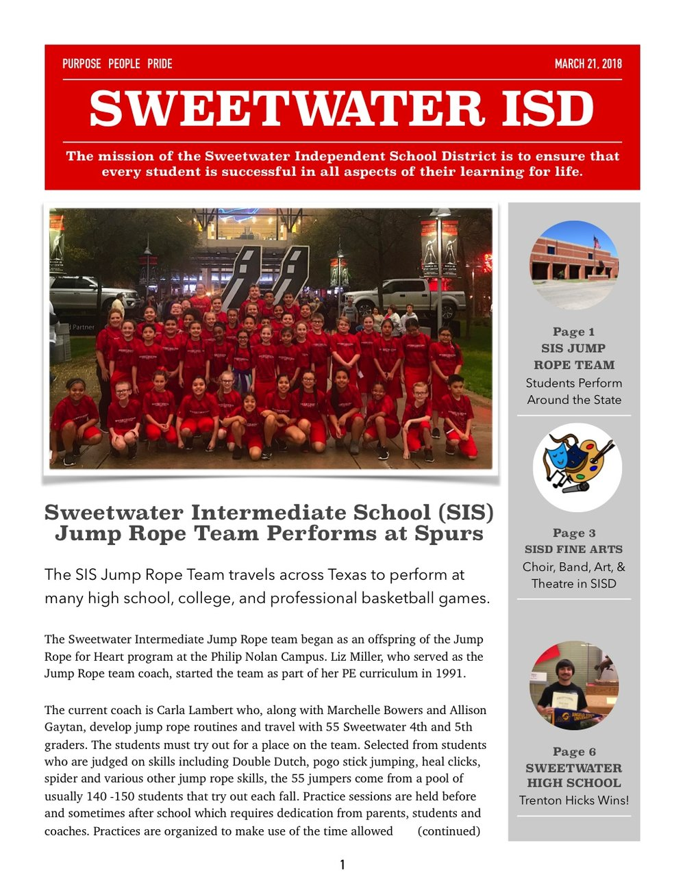 March 2018 Newsletter Page 1 Image