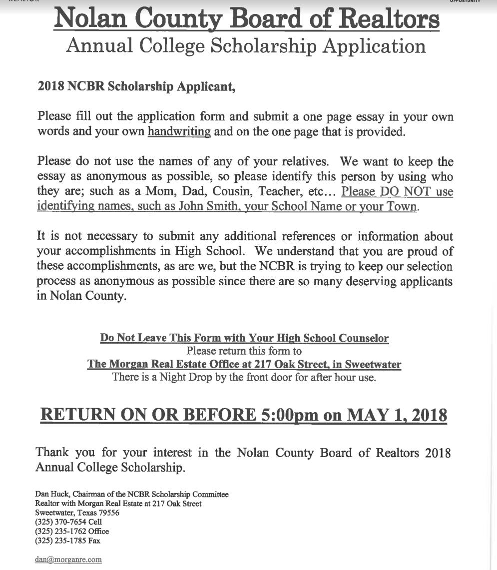 2018 NCBR Scholarship Image