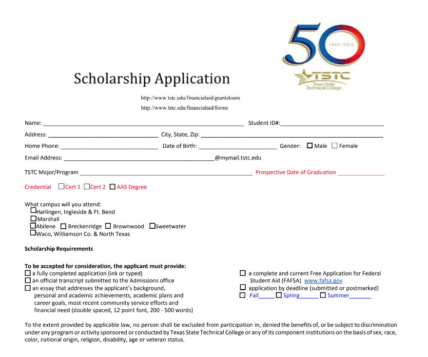 TSTC Scholarship Information Image