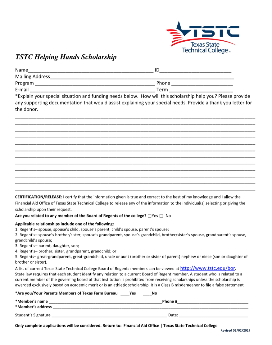2018 TSTC Helping Hands Scholarship Image